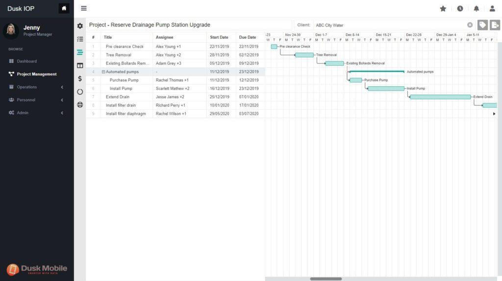 Dusk Mobile Cloud Project Management Timeline View
