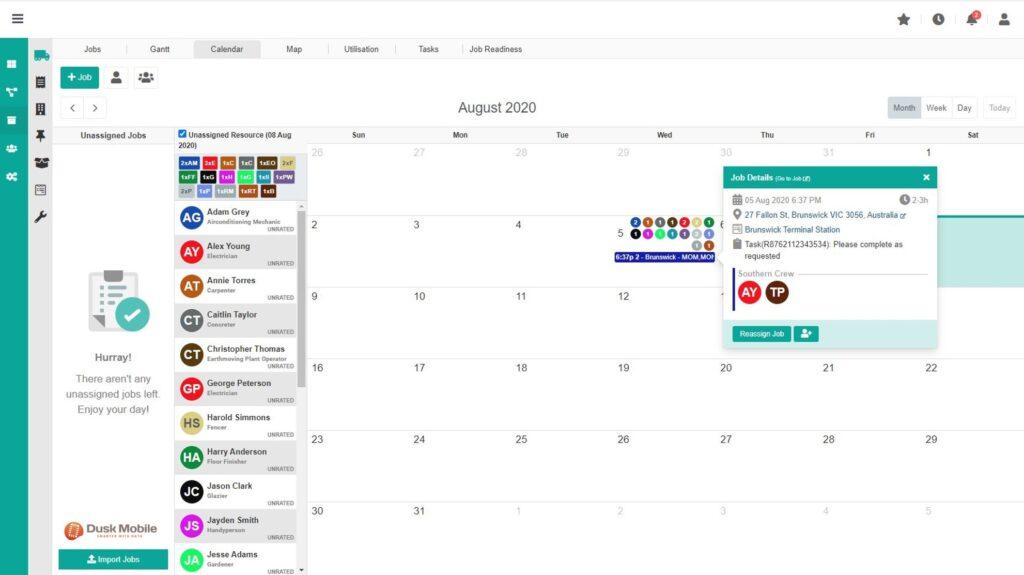 Dusk Mobile IOP Calendar View - Field Service Management Software