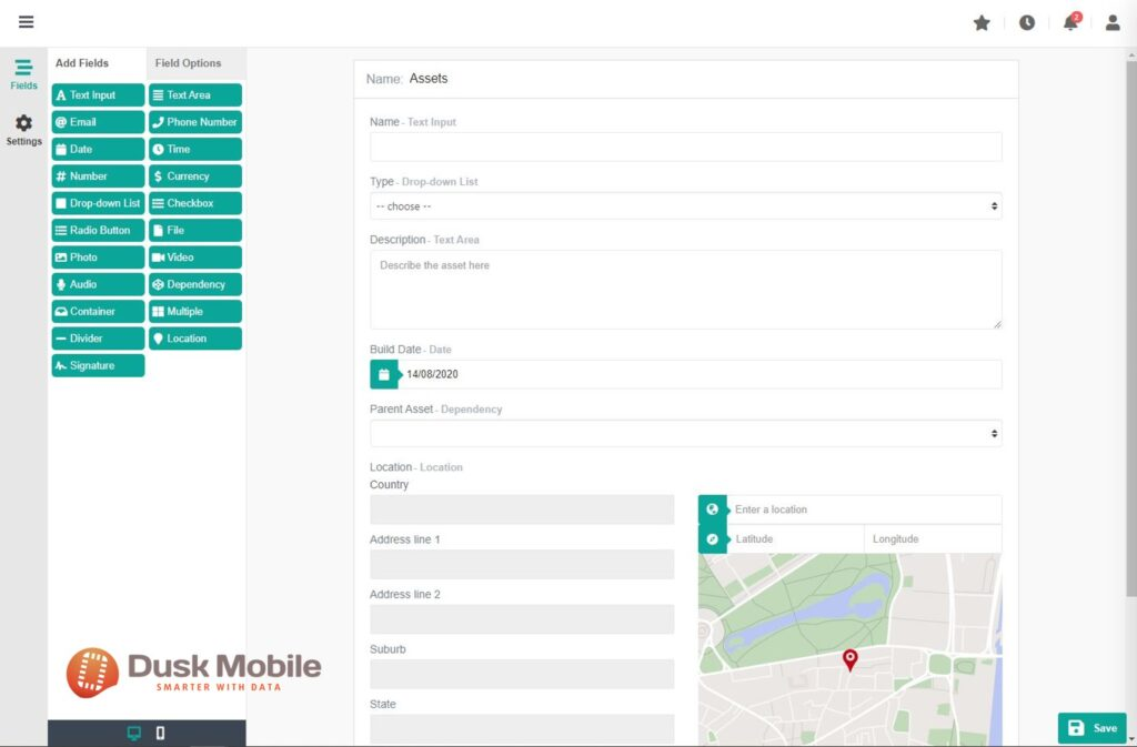 Dusk Mobile - Mobile Form Builder - Configure Your Data Your Way