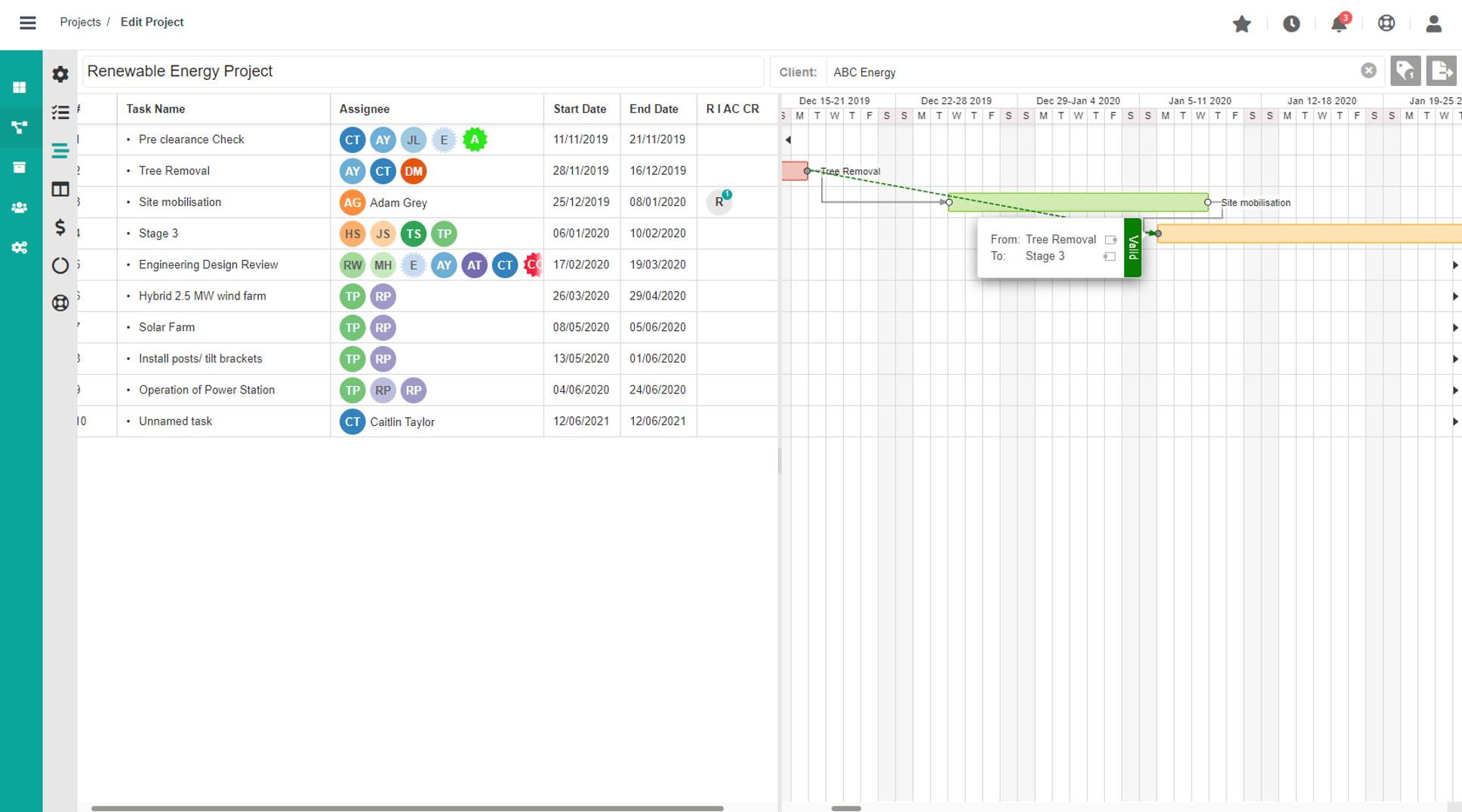 Dusk Mobile - Cloud Project Management Software - Gantt View - Cloud Project Management Software